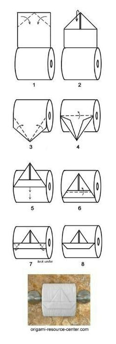 boat toilet paper origami - this is just too funny :D Toilet Paper Origami, Instruções Origami, Oragami, Origami Boat, Fun Crafts, Diy And Crafts, Arts And Crafts, Life Hacks, Paper Crafts
