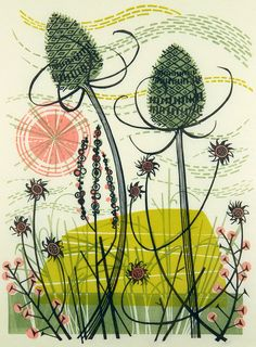 """Island with Teasels"" - linocut print by Angie Lewin - UK printmaker Image size: 215mm x 290mm Edition size: 40"