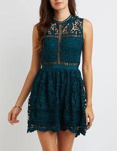Floral Crochet Skater Dress | Charlotte Russe