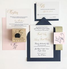 Blush and gold wedding invitations gold navy and blush wedding invitation for a kentucky bride meg pink gold and navy wedding invitation suite Ivory Wedding Invitations, Wedding Invitation Design, Wedding Stationary, Pink And Gold Wedding, Blush And Gold, Navy Gold, Blush Pink, Pink Blue, Navy Blue