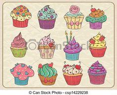 Vektor - Cupcakes, satz - Stock Illustration, Lizenzfreie Illustration, Stock Clip-Art-Symbol, Stock Clipart Symbole, Logo, Line Art, EPS-Bild, Bilder, Grafik, Grafiken, Zeichnung, Zeichnungen, Vektorbild, Kunstwerk, EPS Vektorkunst
