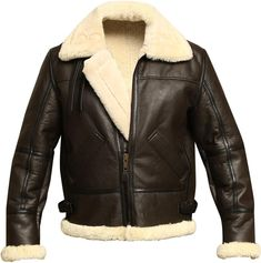 a4cd7b92ce2 B3 Bomber WWII Pilot Real Shearling Brown Sheepskin Leather Jacket (XS) at Amazon  Men s