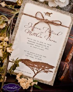 This wedding invitation will be customized with your wording and features a leopard at the top {or another safari animal as seen on the matching