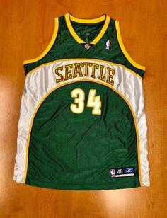 Vintage 1990s Ray Allen Seattle Supersonics Authentic Reebok Jersey Size 48  detlef schrempf hershey hawkins oklahoma c3baab26d