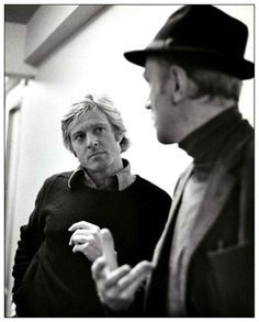 """Robert Redford and Max von Sydow on the set of """"Three Days of the Condor"""" (1975)."""
