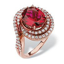 4.46 TCW Oval-Cut Ruby and Cubic Zirconia Swirl Ring in Rose Gold over Sterling Silver