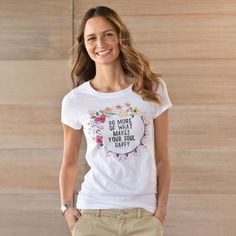 "$34 HAPPY TEE -- A simple reminder with joyful ramifications: ""Do More of What Makes You Happy,"" in a flattering, scoop neck tee. Cotton/polyester. Machine wash. Imported. Sizes S (4 to 6), M (8 to 10), L (12 to 14), XL (16). Approx. 26-3/4""L."