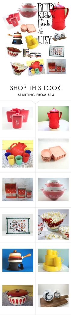 """Retro Kitchen Finds on Etsy"" by elizabellavintage ❤ liked on Polyvore featuring interior, interiors, interior design, home, home decor, interior decorating, Pyrex, Guzzini, kitchen and vintage"