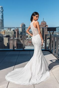 Style Allover Beaded Fit and Flare Dress with Jewel Neckline Plus Wedding Dresses, Fit And Flare Wedding Dress, Flare Dress, Sabrina Neckline, Cathedral Length Veil, Mermaid Gown, Chantilly Lace, Wedding Looks, Gowns
