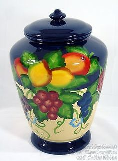 """Nonni's Blue Ceramic Canister Cookie Jar Handcrafted Embossed Grapes 11"""" T 8"""" D"""