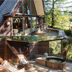 Private hot tub in this serene Berkeley Hills retreat. Dramatic A-frame nestled in the trees