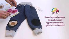 Krabbeln im Babyalter fördern - Tipps. Krabbelhose mit lustigen Applikationen als Knieverstärkung, die das Krabbeln von Babys fördern und animieren. Babys, Socks, Sweatpants, Alter, Fashion, Appliques, Trousers, Tips, Cotton