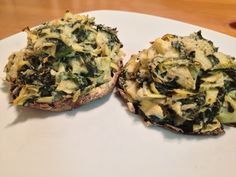 Spinach and Artichoke Stuffed Portobello Mushroom Caps #vegetarian #spinach #artichoke #portobello #mushrooms #healthy #dinner #recipe