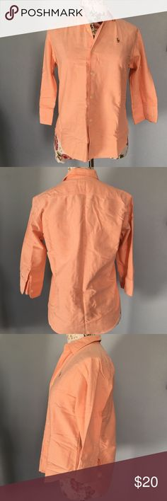 RL sport- button front top Peach, button down top with 3/4 length sleeves- slim fit- size six- my mannequin is a size 2-4 for reference- ( I listed as a 4, as I feel it more accurately reflects the size) great spring look!!! 100% cotton Ralph Lauren Tops Button Down Shirts