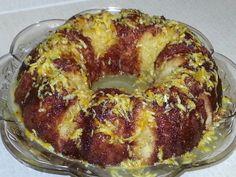 Orange chiffon cake Orange Chiffon Cake, Bagel, French Toast, Bread, Breakfast, Food, Morning Coffee, Breads, Bakeries