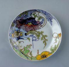 "** Rozenburg, Den Haag, ""Eggshell"" Porcelain plate, painted by Rossum, Jacobus Willem van."