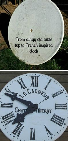 My Sweet Savannah: ~thrifty Thursday~ {French clock} Big Clocks, Large Clock, Wall Clocks, Do It Yourself Furniture, Diy Furniture, Make A Clock, French Clock, Outdoor Clock, Wall Watch