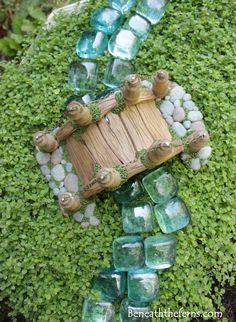 Miniature fairy garden bridge by beneath the ferns top view
