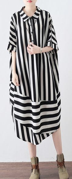 women black striped chiffon blended maxi dress trendy plus size shirt collar dresses Elegant patchwork caftansMost of our dresses are made of cotton linen fabric, soft and breathy. loose dresses to make you comfortable all the time. Maxi Dresses Uk, Maxi Outfits, Chiffon Maxi Dress, Plus Size Maxi Dresses, Modest Dresses, Trendy Dresses, Modest Outfits, Elegant Dresses, Casual Dresses
