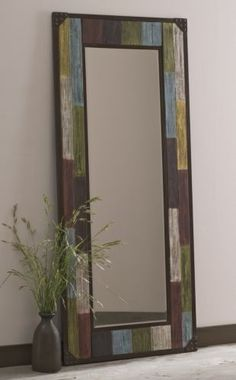 Mirror, Rustic from Through the Country Door® – Could be made – Inexpensive wall mirror framed out with scrap wood and watered acrylic in variety of 'aged stain' colors of choice. @ Home Ideas and Designs Pallet Mirror Frame, Wood Mirror, Scrap Wood Crafts, Rustic Mirrors, Mirror Painting, Home Accents, Barn Wood, Home Projects, Picture Frames