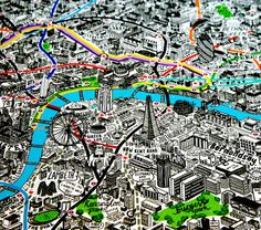 """London by Hand Illustrator Jenni Sparks' impressively detailed map of """"The Big Smoke"""" With a keen eye for details, illustrator Jenni Sparks recently completed a hand drawn map of little old London. London Map, Old London, South London, Black And White Building, Df Mexico, Graffiti, World History Lessons, Street Art, Sketch Inspiration"""
