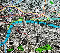 Mapa de Londres ilustrado por Jenni Sparks, con las líneas de metro y monumentos más importantes. Una joya!