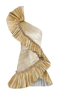 Gold Draped Assymmetrical Mini Dress by Raisa Vanessa Kpop Fashion Outfits, Stage Outfits, Womens Fashion, Fasion, Cute Work Outfits, Little Dresses, Clothes For Women, Vintage Clothing, Vintage Sewing