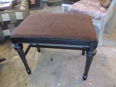 Piano bench painted black w/faux tooled leather fabric