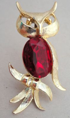 #Brooch Figural #Owl 2in Gold Tone Big Ruby Red Rhinestone Gem Tummy Pin Vintage Unbranded