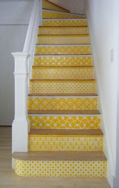 Our Moroccan stencils on stair risers in a sunny yellow. Carol Leonesio was inspired by the black/white stenciled stairs in this post. Spreading the stencil love! Stenciled Stairs, Painted Stairs, Wooden Stairs, Painted Staircases, Painted Tiles, Painted Floors, Hand Painted, Yellow Stairs, Sweet Home