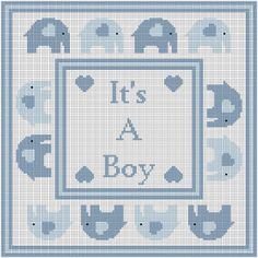 Elephants On Parade It's A Boy Graph Afghan by JustKeepStitching2, $3.45