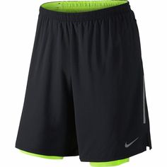 "Nike Mens Phenom 9"" 2 in 1 Running Shorts Black Yellow SZ XL 683283-010 NWT #Nike #Shorts"