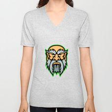 Cronus Greek God Mascot Unisex V-Neck by patrimonio Greek Gods, Retro Fashion, V Neck T Shirt, Tees, Shirts, Unisex, Mens Tops, Stuff To Buy, Style