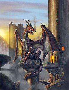 Red dragon at dawn