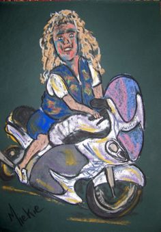 Biker Chick. Interpretation 2. Charcoal and pastel on paper. A2 size. I love the energy in this piece. R650 unframed. R1300 framed.