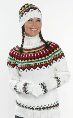 Revontulipusero, -myssy ja -lapaset (arkistomalli) Fair Isle Knitting Patterns, Knitting Designs, Knit Patterns, Fair Isle Pullover, Norwegian Knitting, Knit Fashion, Baby Knitting, Christmas Sweaters, Knitwear