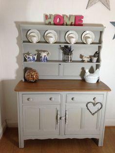 Vintage Painted Ercol Elm Dresser Welsh Dresser Sideboard Plate Rack - Pale Grey in Home & Solid Wood Pine Bookcase Leaded Glass Doors Cupboard Cabinet ...