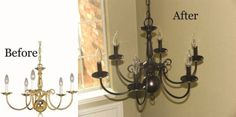 DIY Update and Reuse your old, ugly brass chandelier . Use oil rubbed bronze spray paint from Rustoleum to update your chandelier. Spray Painted Chandelier, Old Chandelier, Chandelier Makeover, Bronze Chandelier, Chandeliers, Entryway Chandelier, Foyer, Rustoleum Oil Rubbed Bronze, Bronze Spray Paint