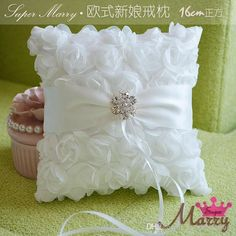 Wedding Ring Pillow White Satin Rose Flowers Ring Cushion Customize Rings Care Pillows with Rhinestones Bow Pillows, Ring Pillows, Ring Pillow Wedding, Wedding Pillows, Ring Bearer Pillows, Cushion Ring, Flower Pillow, Satin Roses, Flower Girl Basket