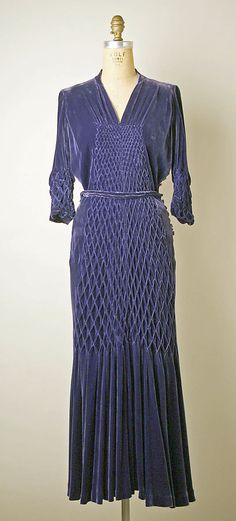 Rouff silk velvet cocktail dress 1934-36