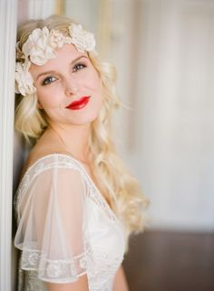 Handmade flower halo headpiece. Boho beauty.
