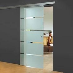 Glasschiebetür 880x2035mm - Schiebetür 8mm ESG Sicherheitsglas - Zimmertür Komplettset mit Beschlag, Griffen & Glastür (Blockstreifen satiniert + Griffmuschel)
