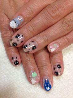 really cute nails Totoro, Cute Nail Art, Cute Nails, Pretty Nails, Hair And Nails, My Nails, Anime Nails, Korean Nails, Kawaii Nails