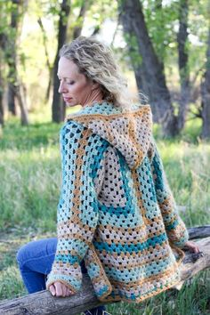 Hexagonal Cardigan Sweater Free Crochet Pattern