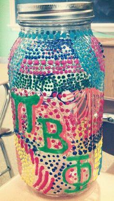 Pi Phi mason jar craft #piphi #pibetaphi