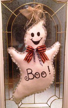 Painted Burlap Ghost Door Hanger by PinkTulipOfDaphne on Etsy, $55.00