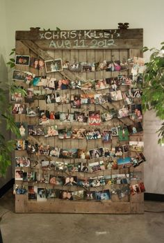wedding photo display case & prop up an old door / http://www.deerpearlflowers.com/wedding-photo-display-ideas/