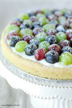 Triple Grape Fruit Pizza Dessert Recipe | thegunnysack.com