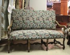 Antique French Louis XIII Bench Settee with Tapestry
