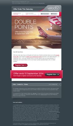 Nice to see an airline put some effort into their email design. This email is just beautiful to look at.  Good work Virgin Australia!